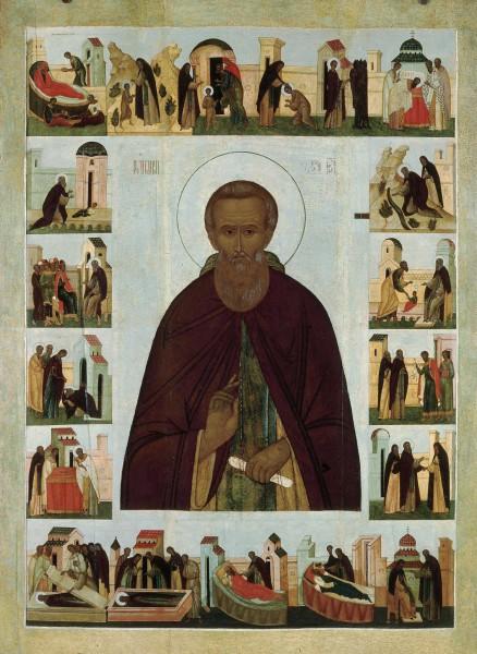 Икона Преподобный Сергий Радонежский, с житием. Москва