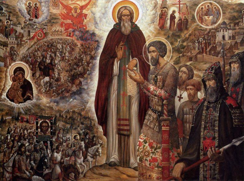 Икона Святой Сергий Радонежский благословляет князя Димитрия Донского на Куликовскую битву