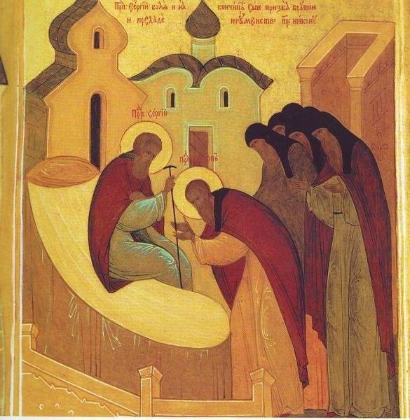 Икона монахини Иулиании (Соколовой). Прп. Сергий передает игуменство прп. Никону