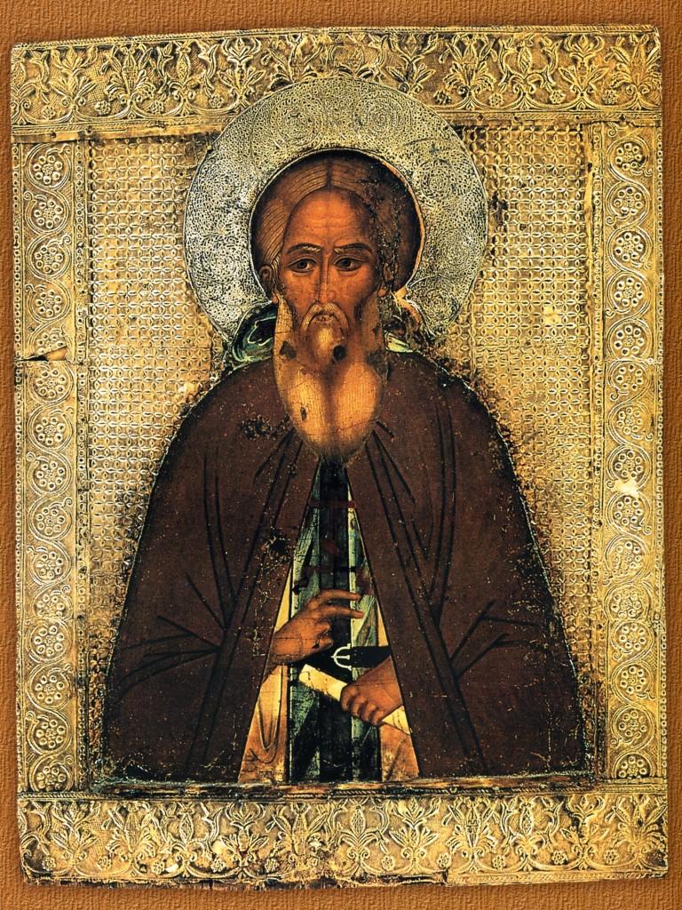 Преподобный Сергий Радонежский. Икона, середина XVI века. Ризница Троице - Сергиевой Лавры