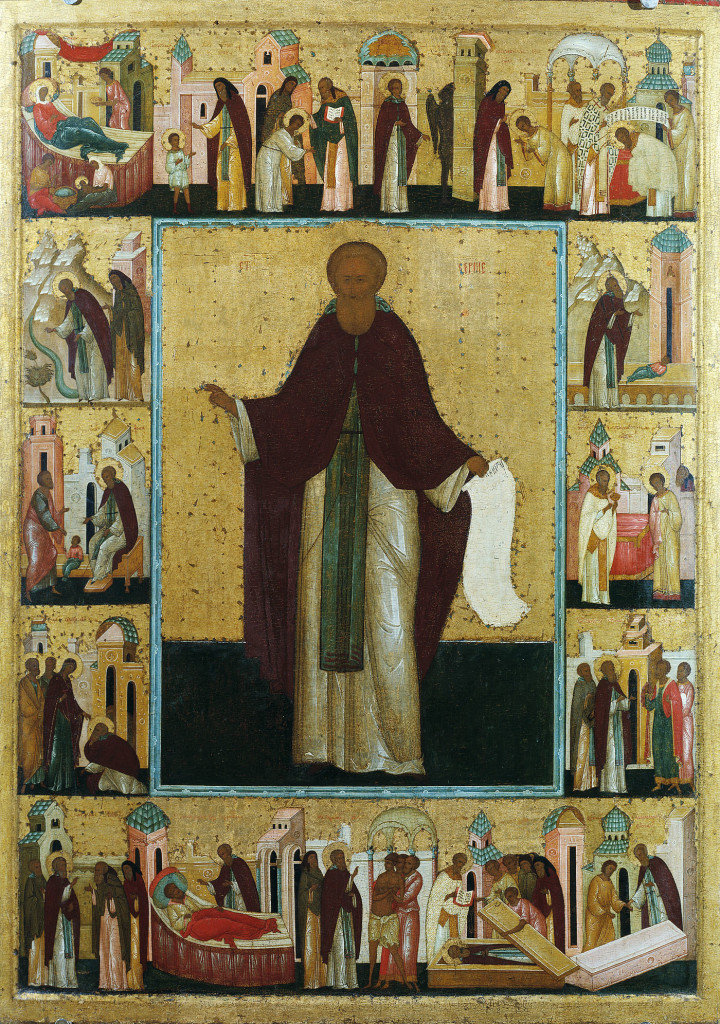 Преподобный Сергий Радонежский. Икона с житием, 1-я треть XVI века. Мастерская Феодосия