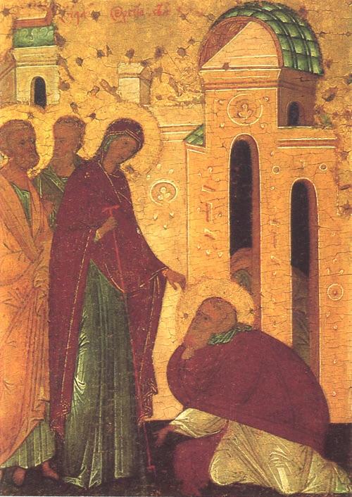 Явление преп. Сергию Богоматери с апостолами Петром и Павлом. В разрезе здания изображен преп. Михей, бывший очевидцем события.