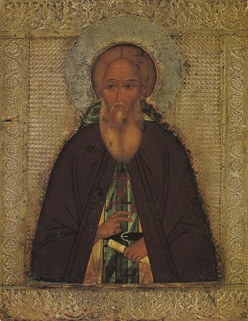 Преподобный Сергий Радонежский. Икона второй половины XVI века из собрания Сергиево-Посадского музея.