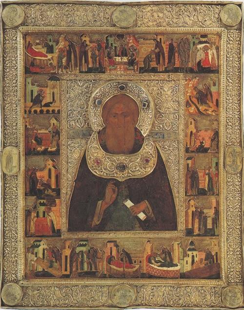 Преподобный Сергий Радонежский с житием. 1591 год. Келарь Троице-Сергиевой Лавры Евстафий Головкин.