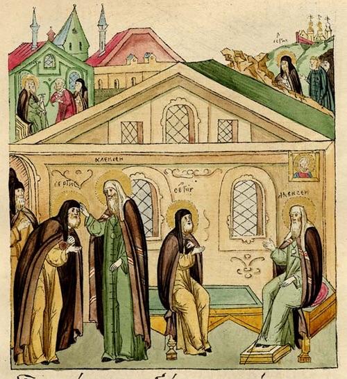 Святитель Алексий, митрополит Московский, упрашивает преподобного принять митрополию после его кончины