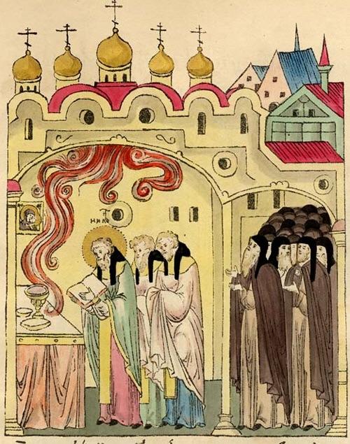 Видение Божественного Огня во время Литургии в монастыре