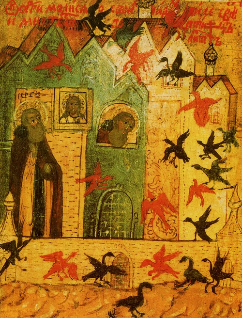 Видение преподобному множества птиц в знак того, что в его обители спасутся множество монахов.