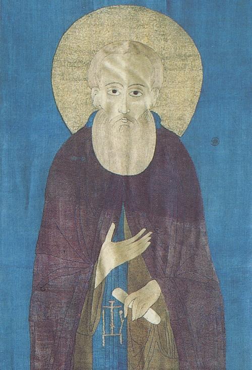 Шитый покров на мощи преподобного. Середина XV века. Синие фоны этого и самого первого покрова – поздние дополнения. Изначально цвет фона был темно-коричневым.
