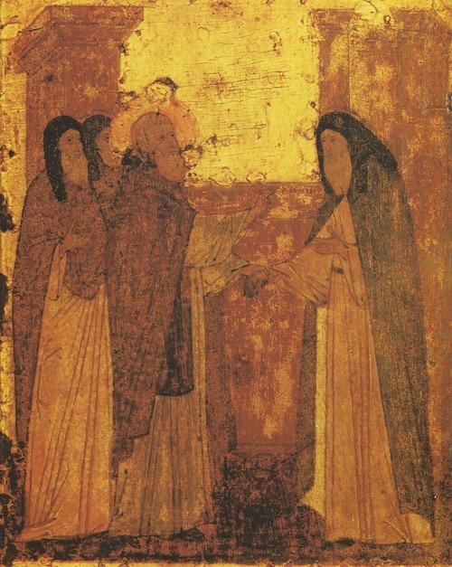 Исцеление от слепоты греческого епископа. Клеймо иконы преп. Сергия из Троицкого собора Лавры.